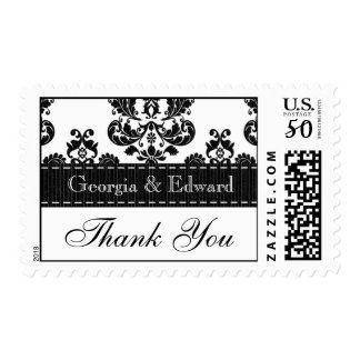 Black and White Damask Wedding Thank You Postage S