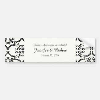 Black and White Damask Wedding Water Bottle Bumper Stickers