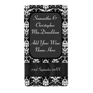 Black and white damask wedding wine bottle label