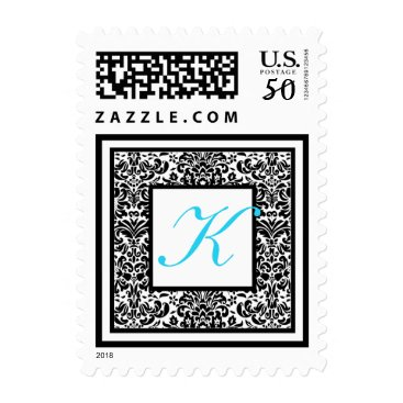 Black and White Damask with Aqua Monogram Postage