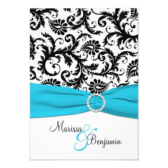 Black and White Damask with Blue Faux Ribbon Card