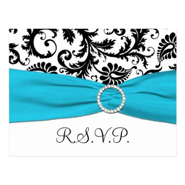 Black and White Damask with Blue RSVP Postcard