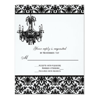 """Black and White Damask with Chandelier Reply Card 4.25"""" X 5.5"""" Invitation Card"""