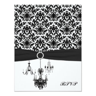 """Black and White Damask with Chandeliers Reply Card 4.25"""" X 5.5"""" Invitation Card"""