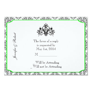 Black and White Damask with Lime Accent Response Card