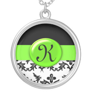 Black and White Damask with Lime Green Monogrammed Round Pendant Necklace