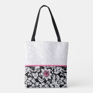 Black And White Damask With Pink Flower
