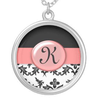 Black and White Damask with Pink Monogrammed Round Pendant Necklace