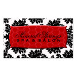 Black and White Damask with Red Damask Name Plate Business Card Templates