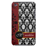 Black and white damask with red floral border-12 iPod Case-Mate case