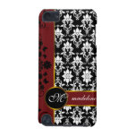 Black and white damask with red floral border-12 iPod touch (5th generation) case