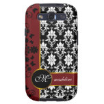 Black and white damask with red floral border-14 galaxy SIII cases