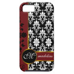 Black and white damask with red floral border iPhone 5 cases