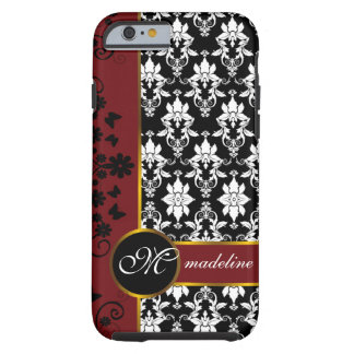 Black and white damask with red floral border iPhone 6 case