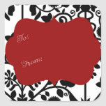 Black and white damask with red gift label square stickers