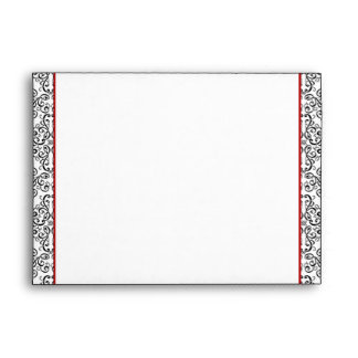 Black and White Damask with Red Wedding Envelope
