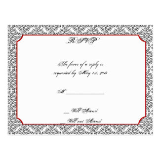 Black and White Damask with Red Wedding RSVP Postcard