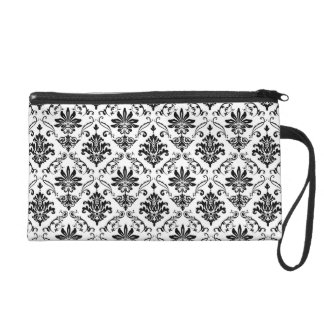 Black and White Damask Wristlet Purse
