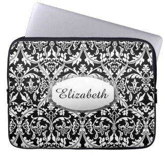 Black and White Damask You Choose Color A01 Computer Sleeve