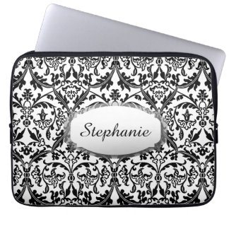 Black and White Damask You Choose Color A04 Laptop Sleeve