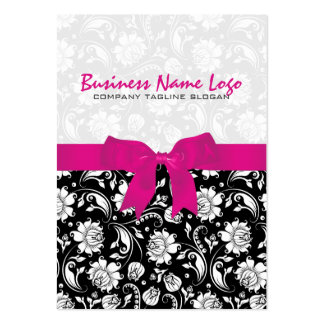 Black And White Damasks 3a With Pink Bow Business Card Templates
