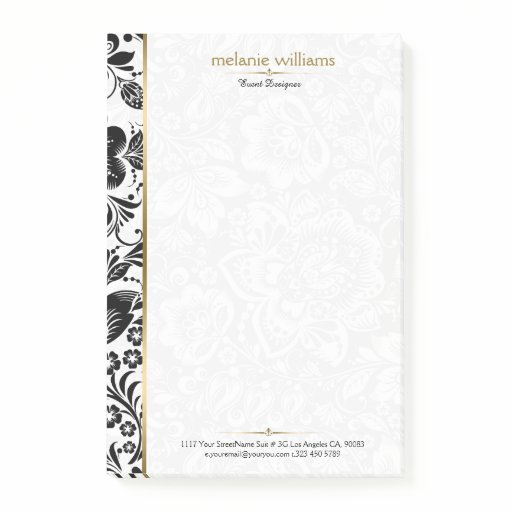 Black and white damasks gold accent post-it notes
