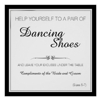 Black and White Dancing Shoes Wedding Sign