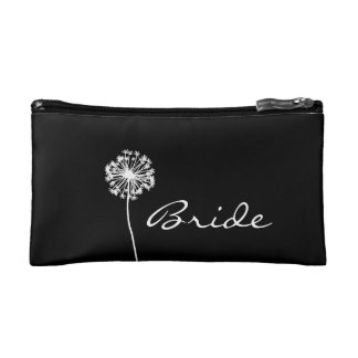 Black and White Dandelion Bride s Makeup Bags