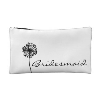 Black and White Dandelion Bridesmaid Cosmetic Bag