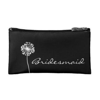 Black and White Dandelion Bridesmaid Cosmetic Bag