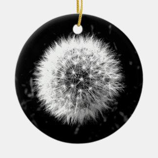 Black and white dandelion ceramic ornament