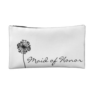 Black and White Dandelion Maid of Honor Cosmetic Bag