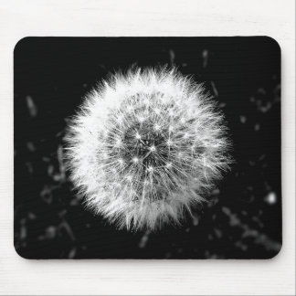 Black and white dandelion mouse pad