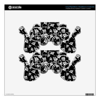 Black and white dandelion pattern PS3 controller skins
