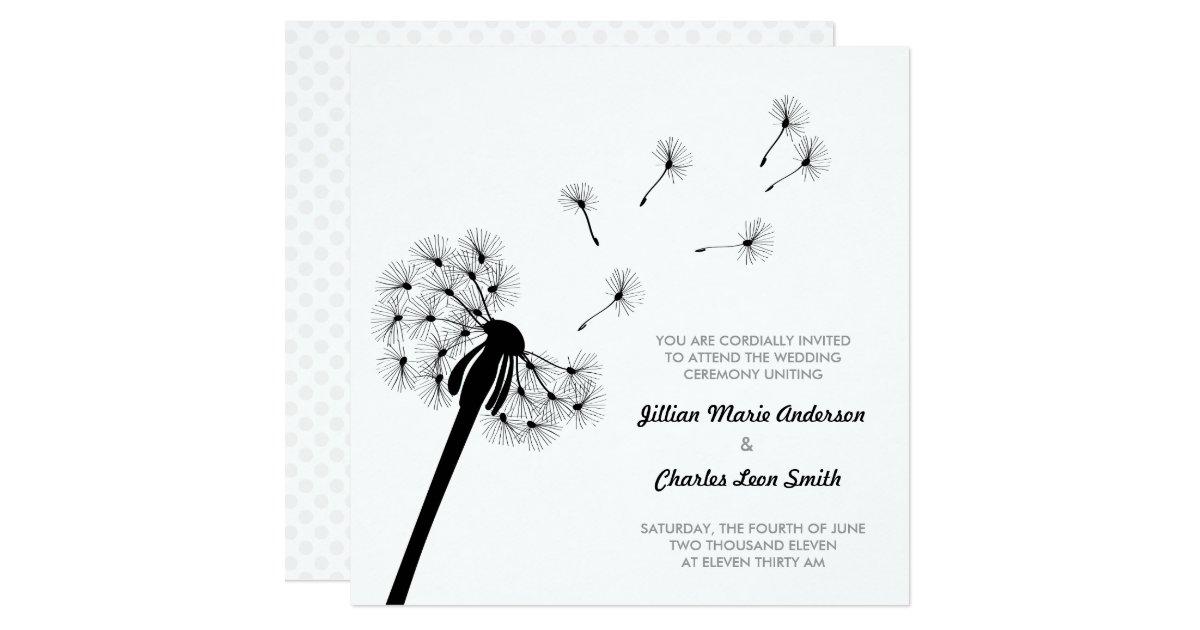 black and white dandelion wedding invitation zazzle