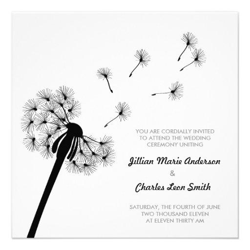 dandelion wedding invitation square invitation card zazzle