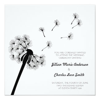 Black and White Dandelion Wedding Invitation