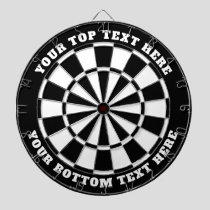 Black and White Dartboard with Custom Text