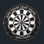 """Black and White Dartboard with custom text<br><div class=""""desc"""">Dartboard in black and white and two custom text areas.</div>"""