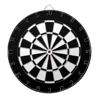 Black and white dartboard with darts