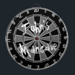 "Black and white dartboard with funny quote for men<br><div class=""desc"">Black and white dartboard with funny quote for men.  Vintage look dart board with personalized humorous text. like Johns Mancave Fun  gift idea for masculine men with humor. Grungy style design with grunged letters. Perfect for dad uncle grandpa brother etc.</div>"
