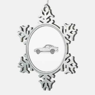 Black and White Datsun 240Z Pencil Style Drawing Snowflake Pewter Christmas Ornament