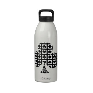 Black and White Deck of Cards Reusable Water Bottle