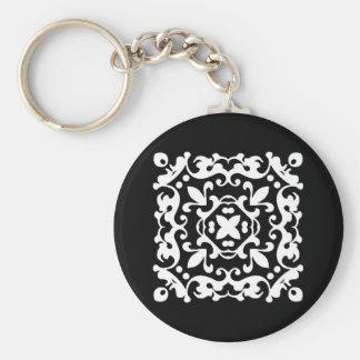 Black and White Decorative Damask Motif Keychain