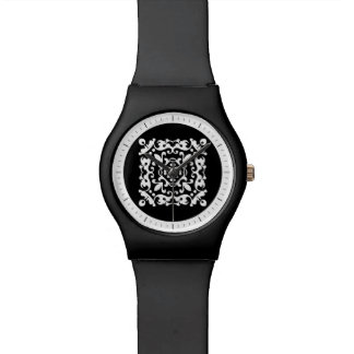 Black and White Decorative Damask Motif Wristwatches