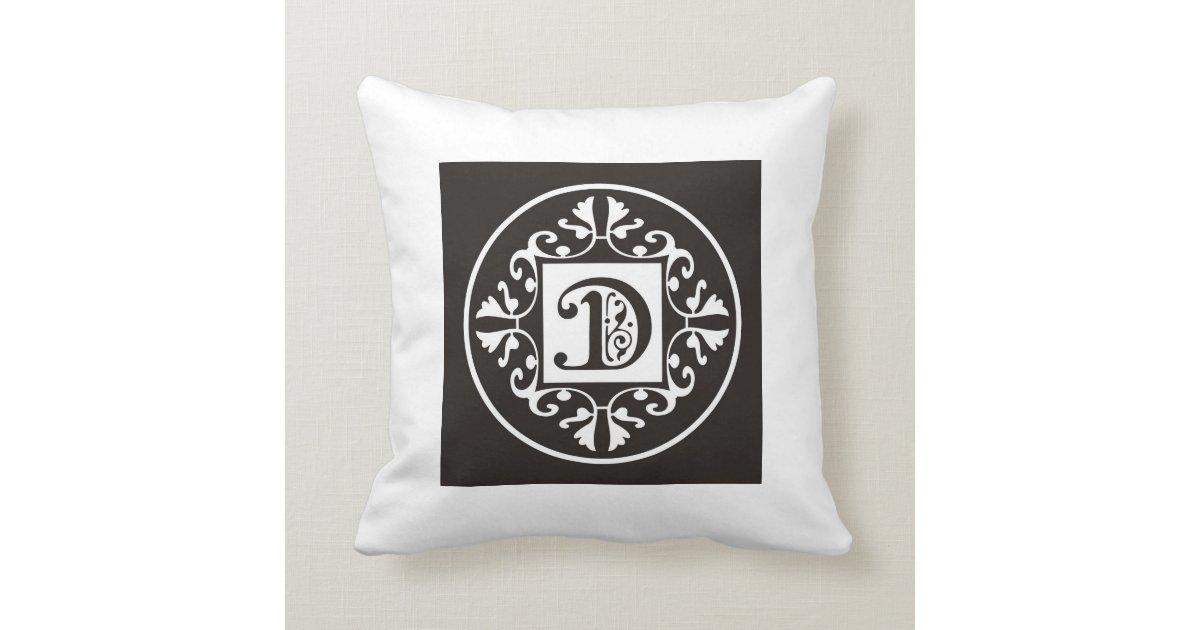 Black And White Decorative Throw Pillows : Black And White Decorative Initial Monogram D Throw Pillow Zazzle