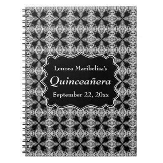 Black and White Decorative Pattern Quinceanera Spiral Notebook