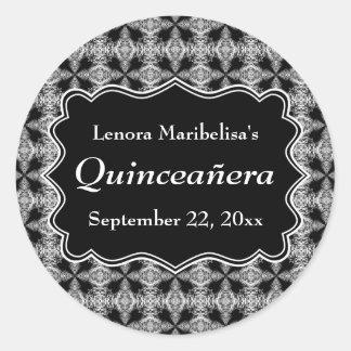 Black and White Decorative Pattern Quinceanera Classic Round Sticker