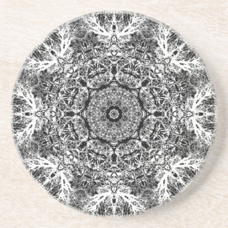 Black and White Decorative Round Pattern. Coaster