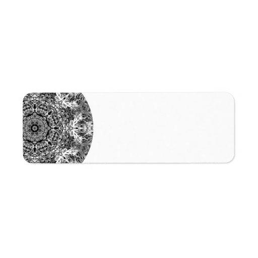 Black and White Decorative Round Pattern. Label